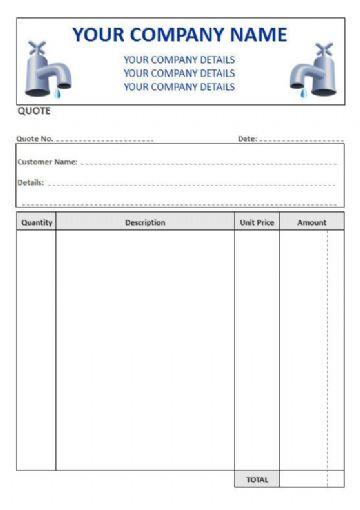 Plumbers NCR Quote Pads, 4 Column